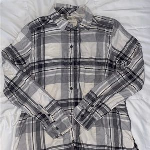 medium american eagle white & grey plaid button up